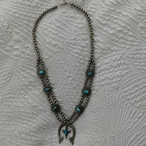 Handmade squash blossom turquoise necklace